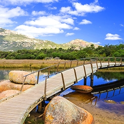 Picturesque Tidal River and Mount Oberon in Wilsons Promontory National Park.  Wilsons Promontory is located in the south of the southern Australian state of Victoria and is a popular weekend getaway location for residents of Melbourne.